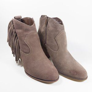 Steve Madden Brown Ohio Side Fringe Ankle Boots